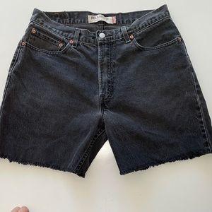 "Levi's vintage black cutoffs 550 size 34"" highrise"